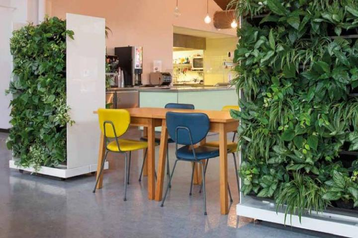 Movable living wall dividers can transform an open office floorplan into a more inviting, productive workspace.