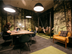 This WeWork quiet room at the Chelsea New York location looks like an urban cave. Photo: Courtesy WeWork