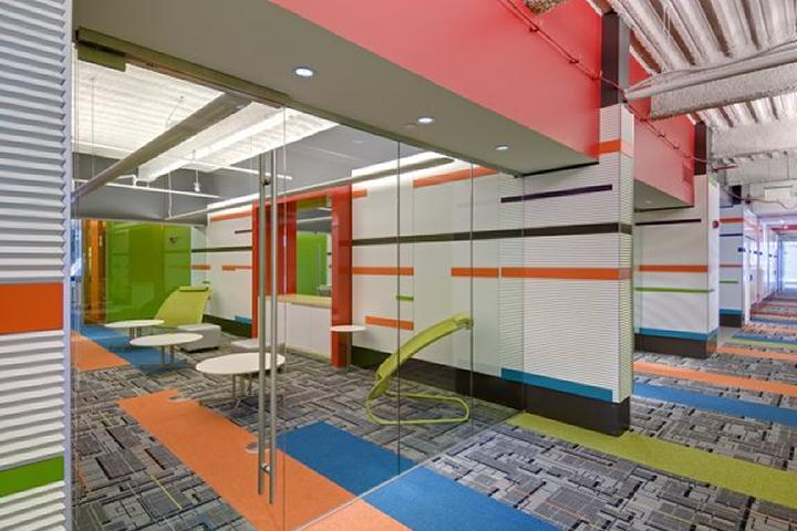 It doesn't take a lot of color to transform a workplace, like this example from Quicken Loans.